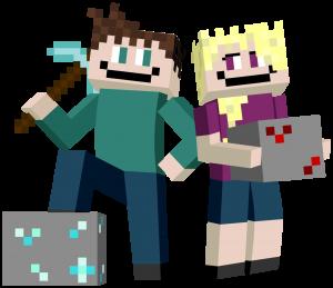To Minecraft byggere som er klare for å bygge